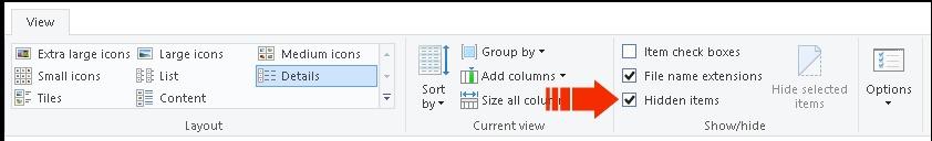 Hidden files dialog